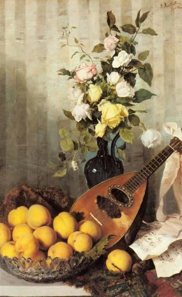 A Still Life With A Vase Of Roses